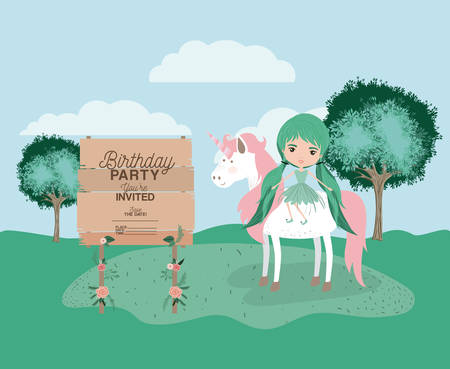 Invitation birthday party card with unicorn and fairy
