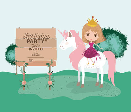 Birthday party card with unicorn and princess vector illustration design