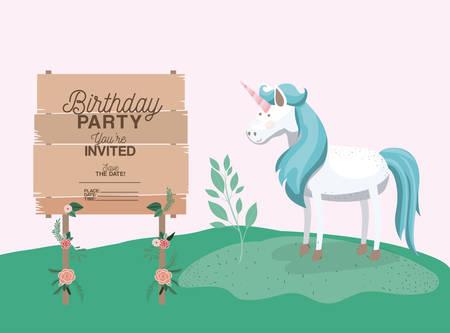 Birthday party card with unicorn vector illustration design Illustration