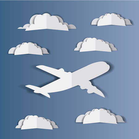 airplane flying with cloudscape vector illustration design