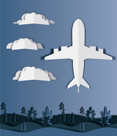 airplane flying with clouds and landscape vector illustration design Иллюстрация