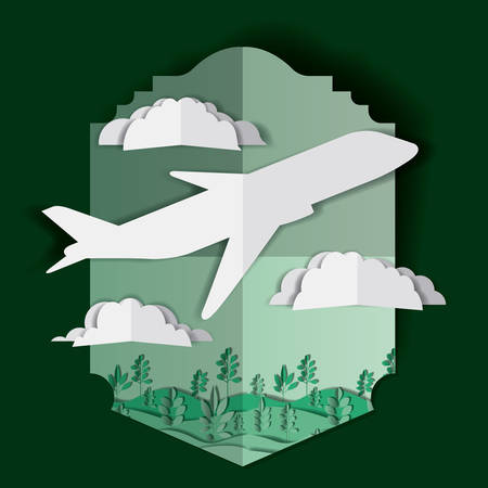 airplane flying with clouds and landscape vector illustration design Illustration