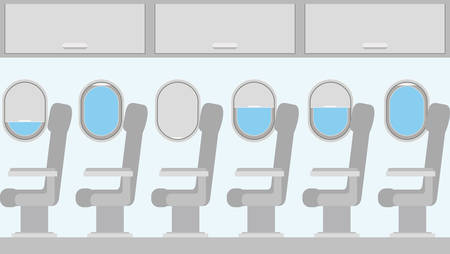 windows airplane with chairs vector illustration design