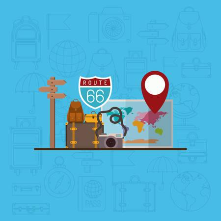 travel around the world set icons vector illustration design Illustration
