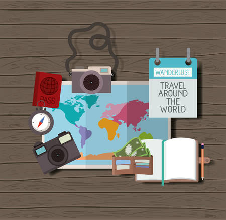 travel around the world set icons vector illustration design Vectores