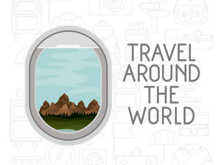 Window airplane travel around the world vector illustration design Illustration