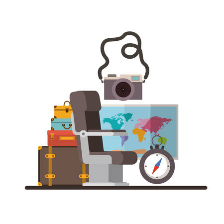Travel around the world set icons vector illustration design