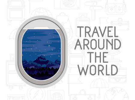 Window airplane travel around the world vector illustration design Illustration