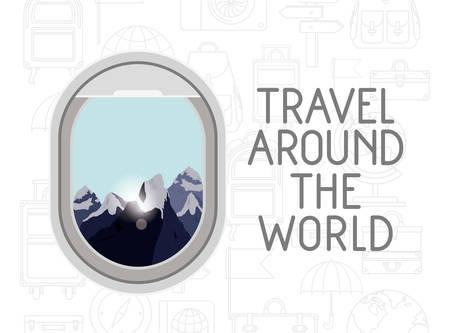 window airplane travel around the world vector illustration design