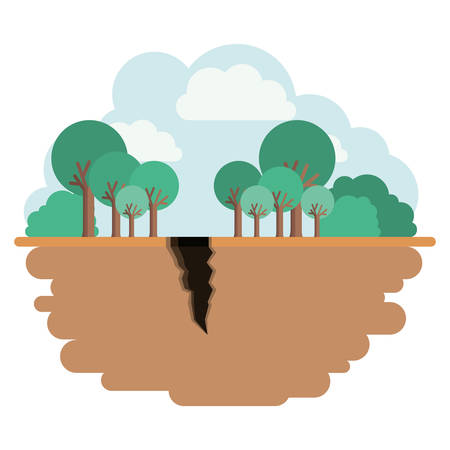 Landscape with earthquake crack vector illustration design Çizim