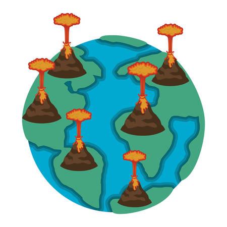 earth planet with erupting volcanoes natural disaster vector illustration design Standard-Bild - 101045967