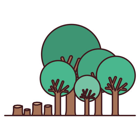 deforested forest scene icon vector illustration design
