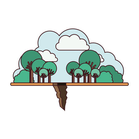 landscape with earthquake crack vector illustration design