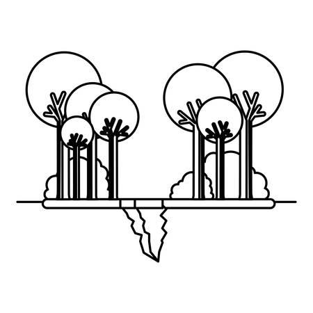 landscape with earthquake crack vector illustration design