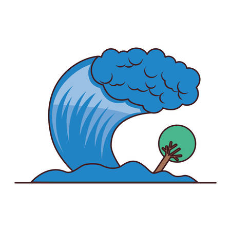 tsunami sea wave with tree vector illustration design Illustration