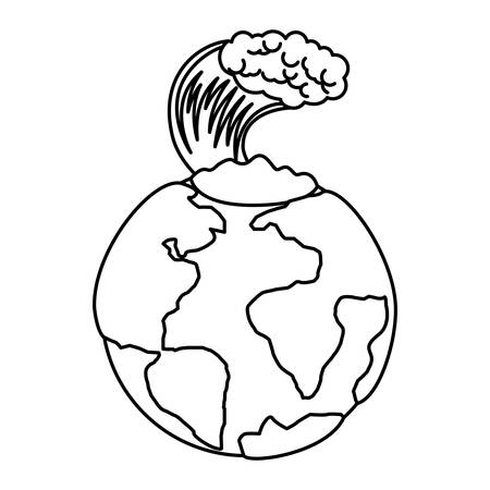 earth planet with tsunami natural disaster vector illustration design