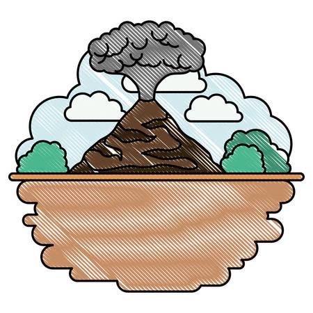 Erupting volcano with landscape scene natural disaster vector illustration