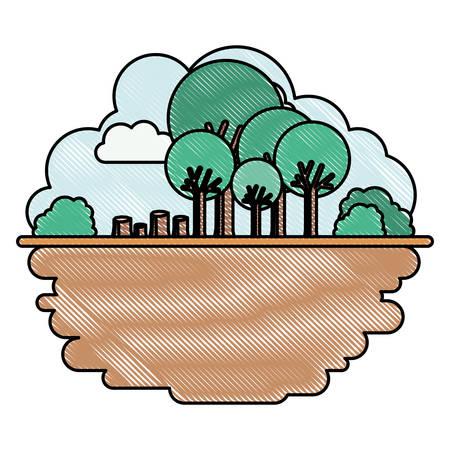 deforested forest scene icon vector illustration design
