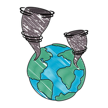 earth planet with twister natural disaster vector illustration design Illustration