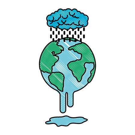 earth planet with electric strom natural disaster vector illustration design Standard-Bild - 101046156