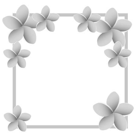 beautiful flowers silvery decorative square frame vector illustration design  イラスト・ベクター素材