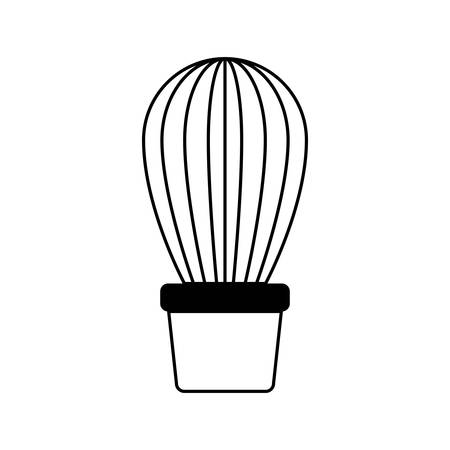 cactus in pot houseplant vector illustration design