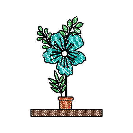 beautiful flower in pot houseplant vector illustration design