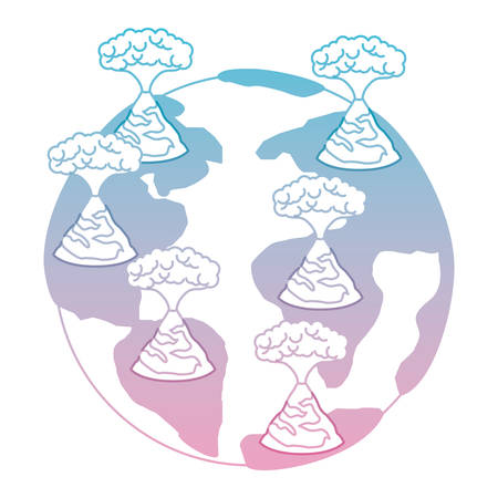 earth planet with erupting volcanoes natural disaster vector illustration design Standard-Bild - 101447503