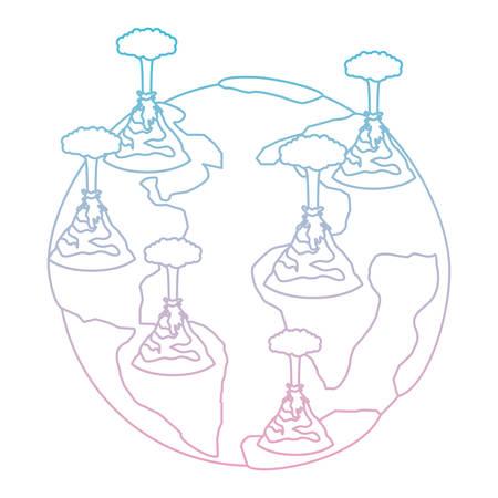 earth planet with erupting volcanoes natural disaster vector illustration design Standard-Bild - 101447556