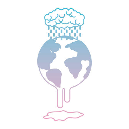 earth planet with electric strom natural disaster vector illustration design
