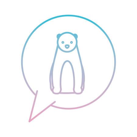 wild polar bear in speech bubble vector illustration design Illustration