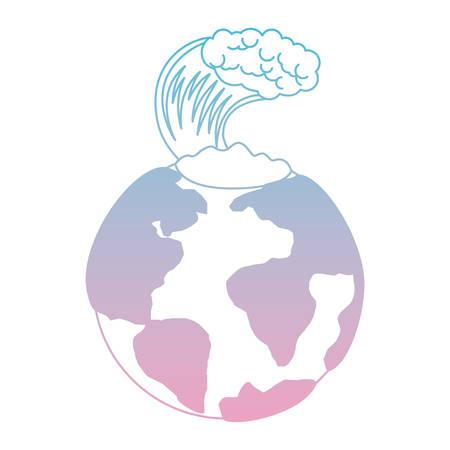 earth planet with tsunami natural disaster vector illustration design Standard-Bild - 101447620