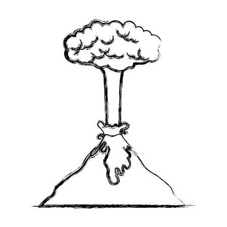 Erupting volcano natural disaster vector illustration design