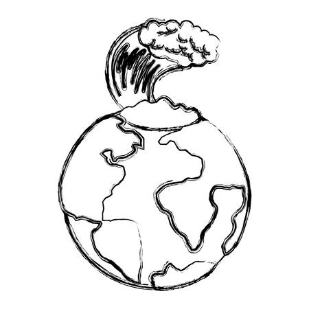 earth planet with tsunami natural disaster vector illustration design Standard-Bild - 101450873