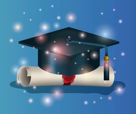 Tarjeta de graduación con sombrero y diploma, diseño de ilustraciones vectoriales