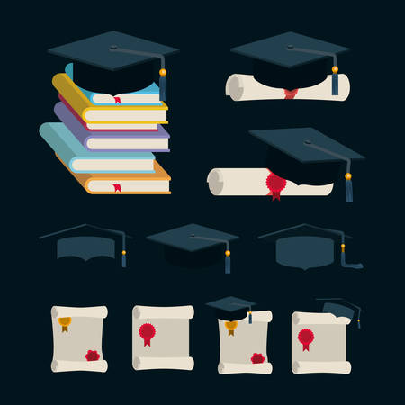 graduation celebration set icons vector illustration design