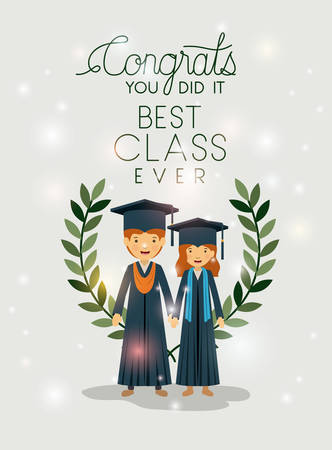 couple of graduates class Illustration