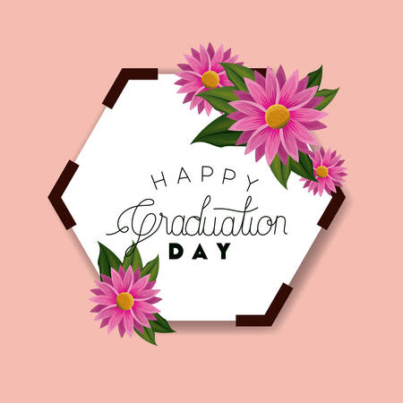 class of the year hexagonal and floral frame vector illustration design