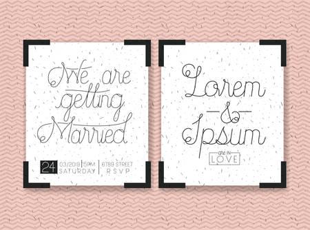 wedding and married invitation set cards vector illustration design Illustration