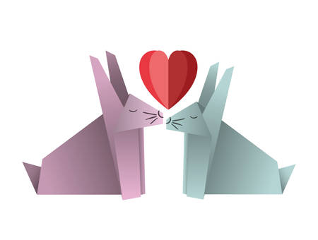 cute rabbits couple origami paper with heart vector illustration design