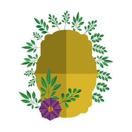 elegant frame with floral decoration vector illustration design Çizim
