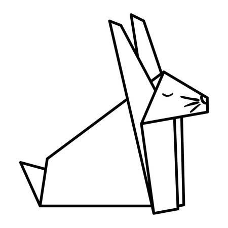 cute rabbit origami paper animal vector illustration design
