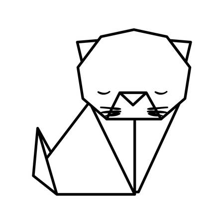 Cat Origami Paper Icon Vector Illustration Design Royalty Free