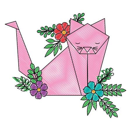 cat origami paper with floral decoration vector illustration design Ilustração