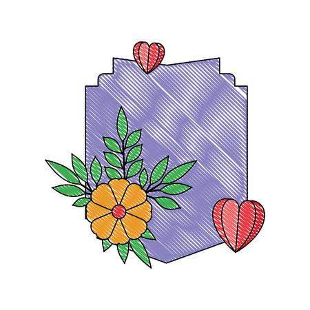 elegant frame with floral decoration and hearts vector illustration design