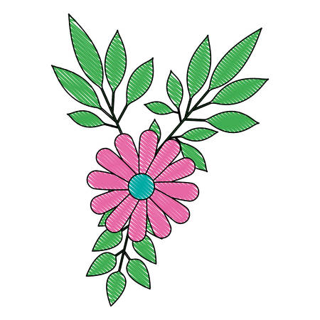 flowers and leafs decoratives vector illustration design