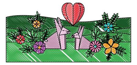 cute rabbits couple origami paper in the field vector illustration design