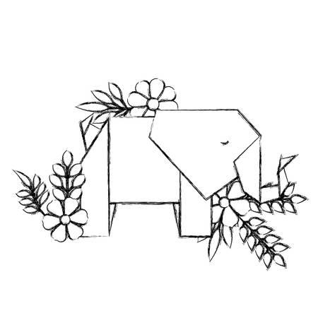 elephant origami paper with floral decoration vector illustration design Illustration