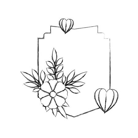 elegant frame with floral decoration and hearts vector illustration design