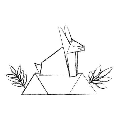 cute rabbit origami paper in field vector illustration design